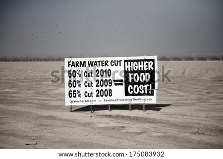 California's Drought causes farmers to post signs and fields to dry up and blow away in the wind. California experiences a drought about every 12 years or so.   - stock photo