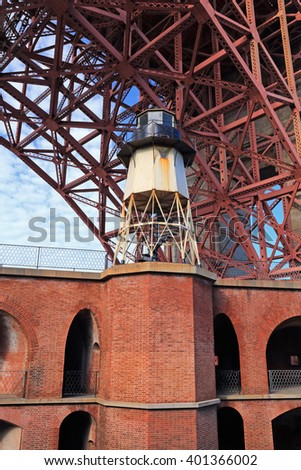 California's Fort Point National Historic Site includes this old lighthouse. - stock photo