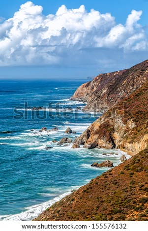 California's scenic coastline viewed from the colorful cliffs of the Point Reyes National Seashore north of San Francisco - stock photo