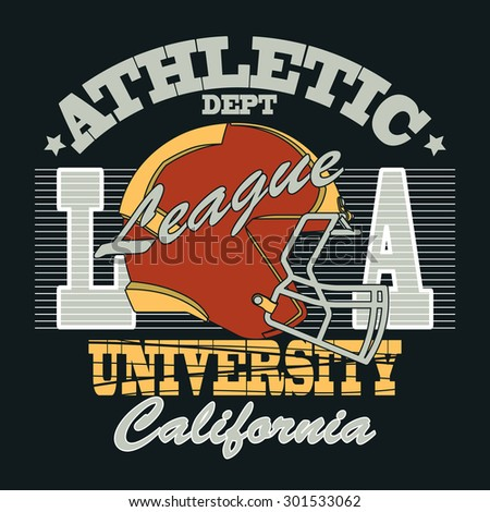 California Sport Typography, University Football Athletic Dept. T-shirt graphics, Vintage Print for sportswear apparel