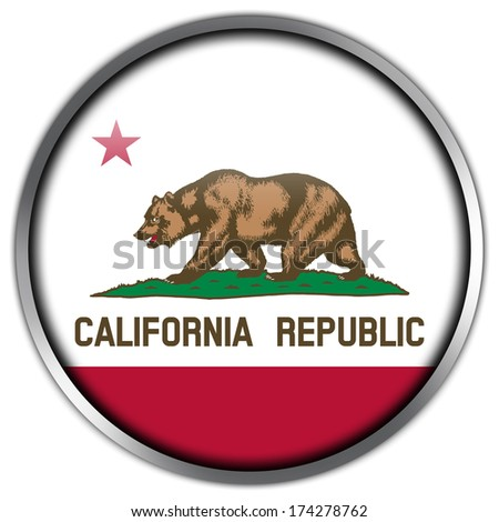 California State Flag glossy button - stock photo