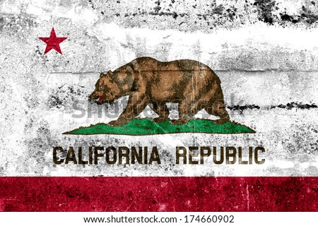 California State Flag painted on grunge wall - stock photo