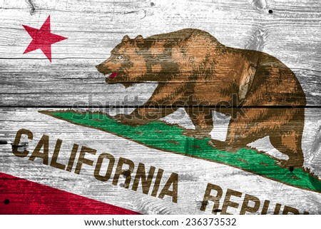 California State Flag painted on old wood plank texture - stock photo