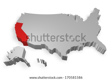 California state on Map of USA 3d model on white background