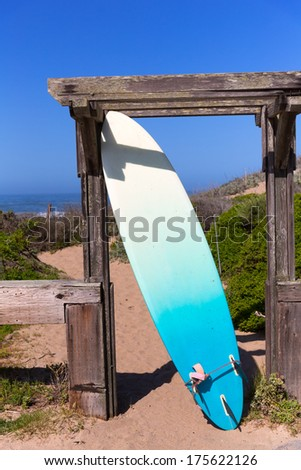 California surfboard on beach in Cabrillo Highway on State Route 1 San Mateo - stock photo