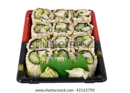 California sushi rolls on plate focus in center