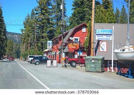 CALIFORNIA USA - APR 13,2014 : Shops on North Lake Blvd, Lake Tahoe, California, USA.It is a large freshwater lake in the Sierra Nevada of the U.S. and is the largest alpine lake in North America.