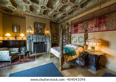 California, USA, 09 Jun 2013: Beautiful and luxurious bedroom with intricate carvings and designs at Hearst Castle, which is a National and California Historical Landmark mansion opened for tours.