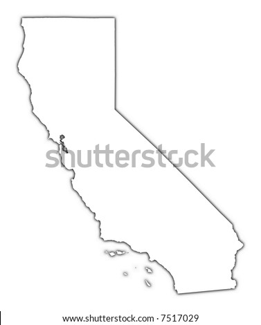 California (USA) outline map with shadow. Detailed, Mercator projection. - stock photo