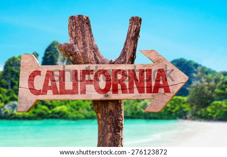 California wooden sign with beach background - stock photo