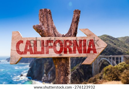 California wooden sign with Big Sur on background - stock photo