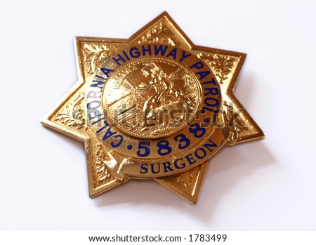 californian highway patrol police badge  on white background - stock photo