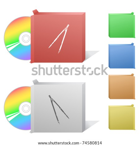 Caliper. Box with compact disc. Raster illustration. Vector version is in my portfolio. - stock photo
