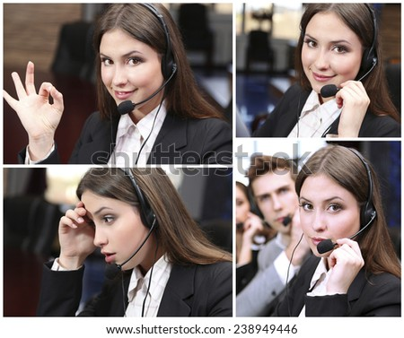 Call-center collage. People answering the phones - stock photo