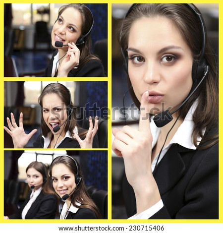 Call-center collage. Woman answering the phones - stock photo