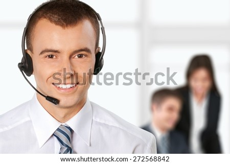 Call Center, Customer Service Representative, Men. - stock photo