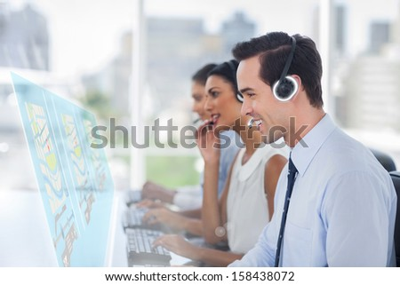Call center employees at work on futuristic interfaces showing maps in bright office - stock photo