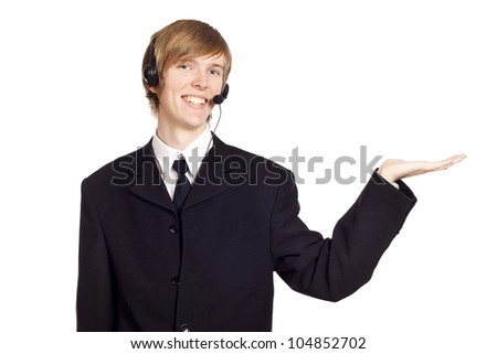 Call center male operator presenting your product - stock photo