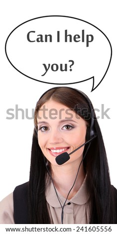 Call center operator and Can I help you? text in cloud, isolated on white - stock photo