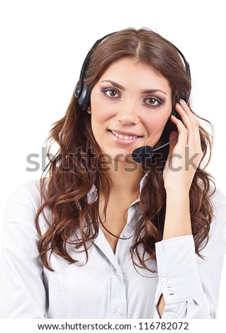 Call center operator business woman, isolated on white background. - stock photo