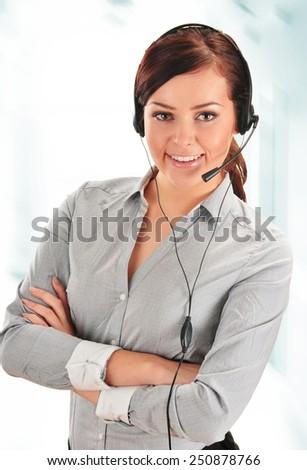 Call center operator. Customer support. Help desk.  - stock photo