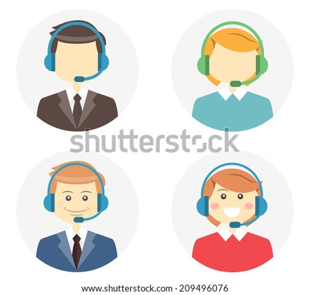 Call center operator icons with a smiling friendly man and woman wearing headsets and a second variation where they are featureless or faceless on round web buttons  illustration - stock photo