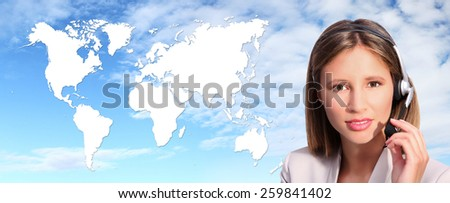 call center operator international contact - stock photo