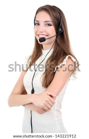 Call center operator isolated on white - stock photo