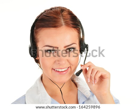 Call center operator isolated on white. Customer support. Helpdesk.