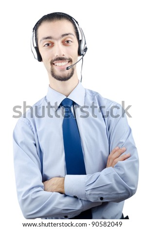 Call center operator with headset - stock photo