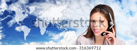 call center operator with map, global international contact concept - stock photo