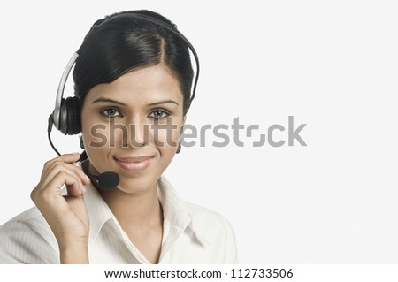 Call center representative smiling