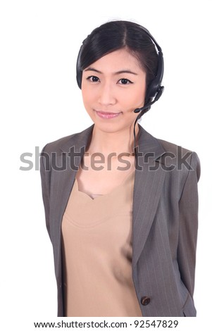 call center woman asian young smile - stock photo