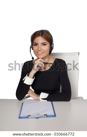 Call center woman,isolated white background