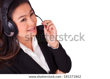 Call center woman on a white background.