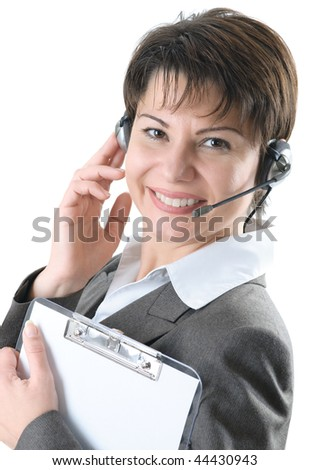 Call center woman with clipboard and headset - stock photo