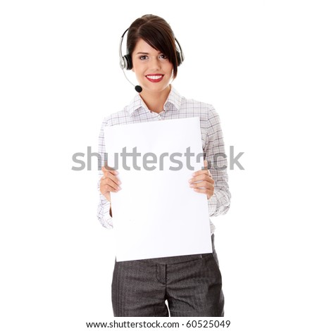 Call center woman with headset holding blank sign. Isolated on white background.
