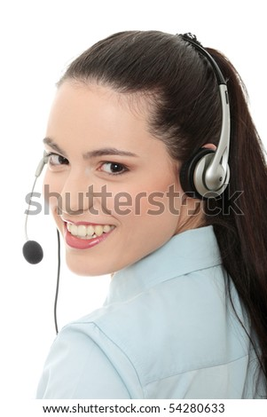 Call center woman with headset. Isolated on white background. - stock photo
