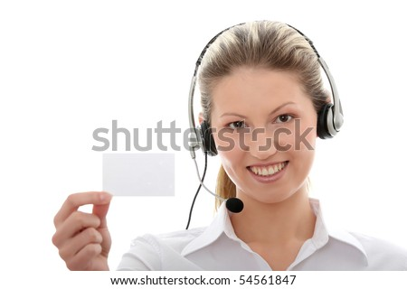 Call center woman with headset showing business card. Beautiful smiling caucasian woman isolated on white background.
