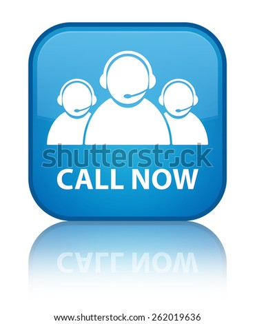 Call now (customer care team icon) cyan blue square button - stock photo