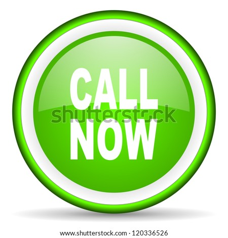 call now green glossy icon on white background - stock photo
