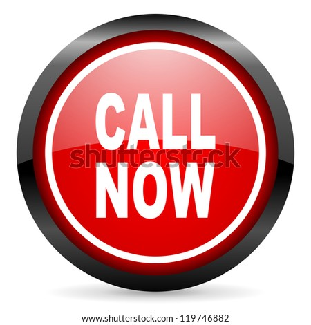 call now round red glossy icon on white background - stock photo