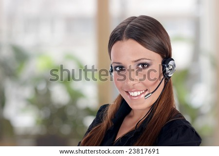 Call service business operator woman. - stock photo