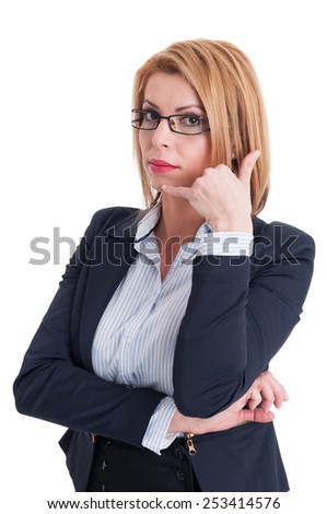 Call us gesture made by a suited and professional business woman on white background - stock photo