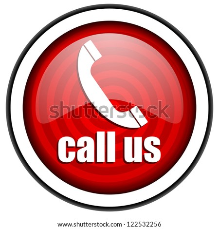 call us red glossy icon isolated on white background - stock photo