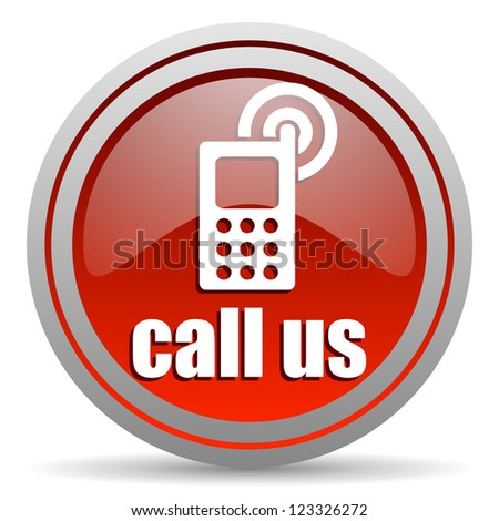 call us red glossy icon on white background - stock photo