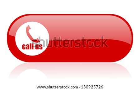 call us red web glossy icon - stock photo