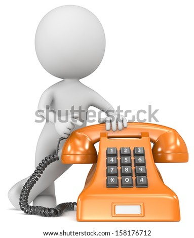 Call us. The Dude pointing at a classic telephone. Orange with white label. - stock photo