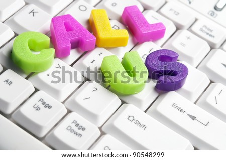 Call Us word made by colorful letters on keyboard - stock photo