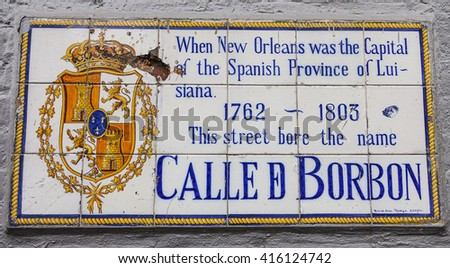 Calle Borbon - Famous Bourbon street in New Orleans French Quarter - NEW ORLEANS, LOUISIANA - APRIL 18, 2016  - stock photo